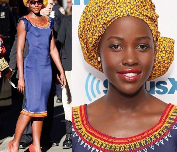 Lupita Nyong'o dressed by Cameroonian designer KibonenNY