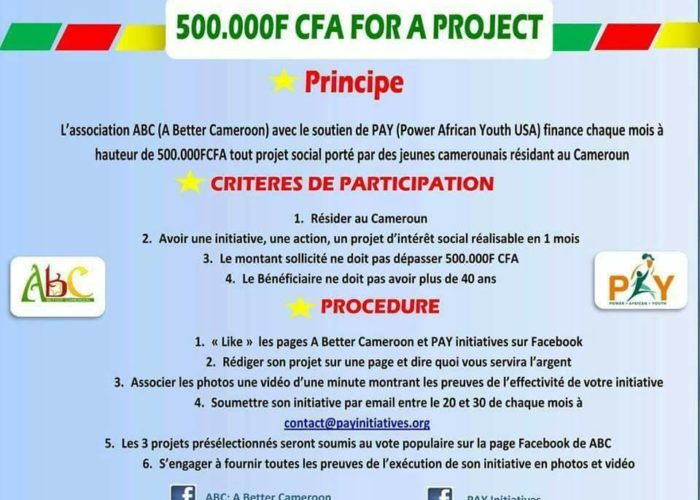 """""""500 000 FCFA for a project"""" for social initiatives in Cameroon"""
